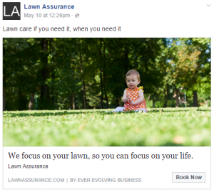 Sample ad for the Lawn Assurance MVP